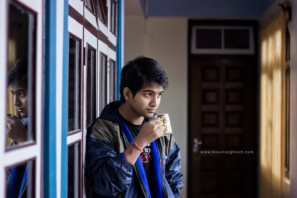 Rimbik having his morning tea