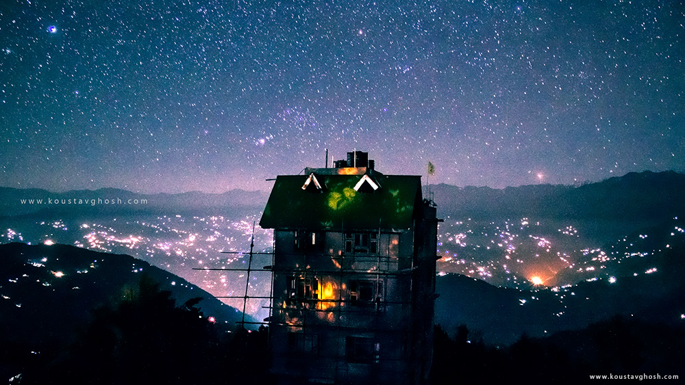 A beautiful starry night view from Ravangla