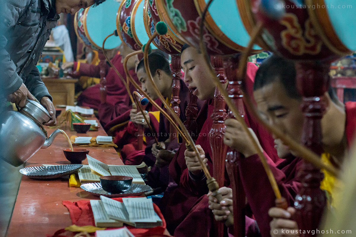 Monks chanting the day before Cham dance
