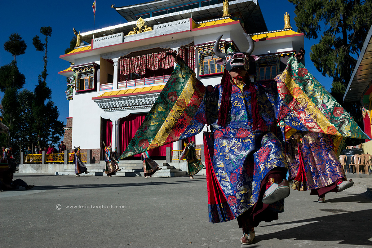 Monks are performing Cham dance in Kagyed festival in old Ralang Monastery