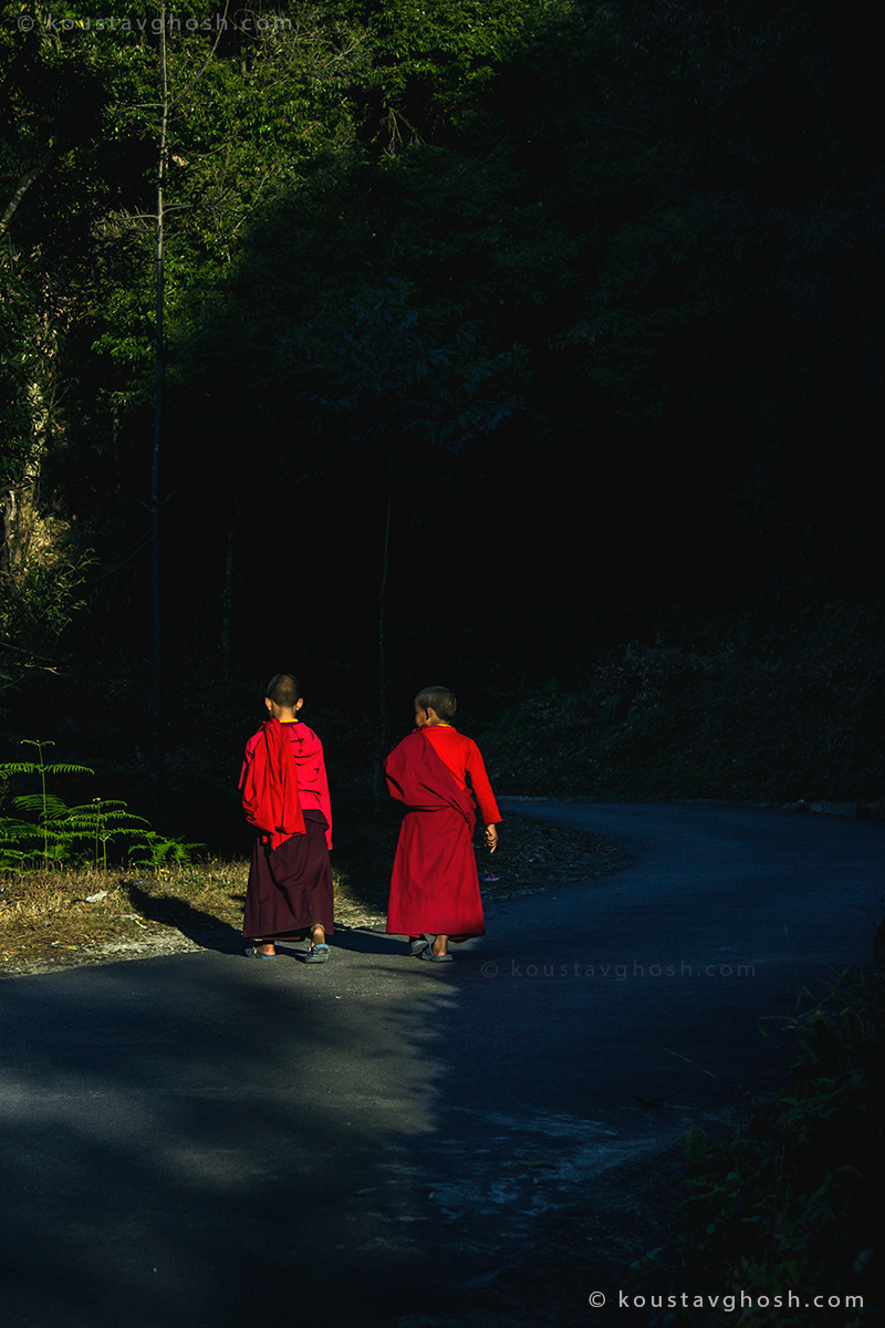 Two little monks on their way to old Ralang monastery