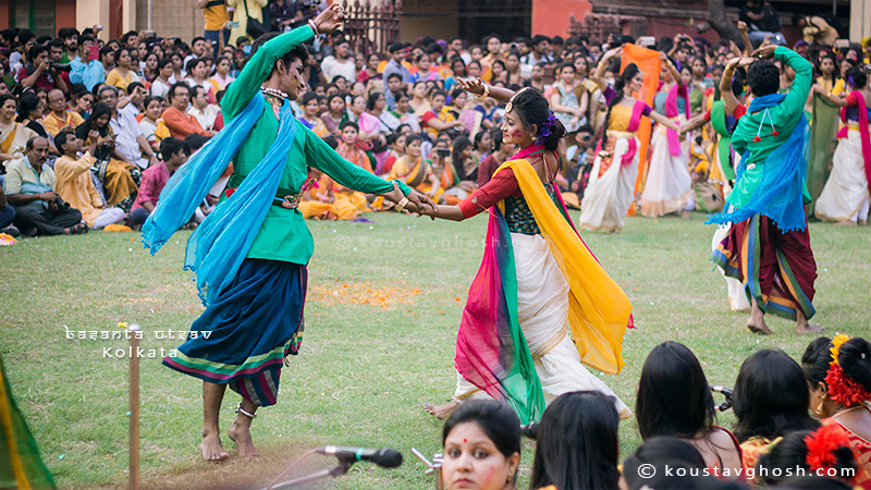 Students were performing during Basanta Utsav at Jorasanko Thakurbari