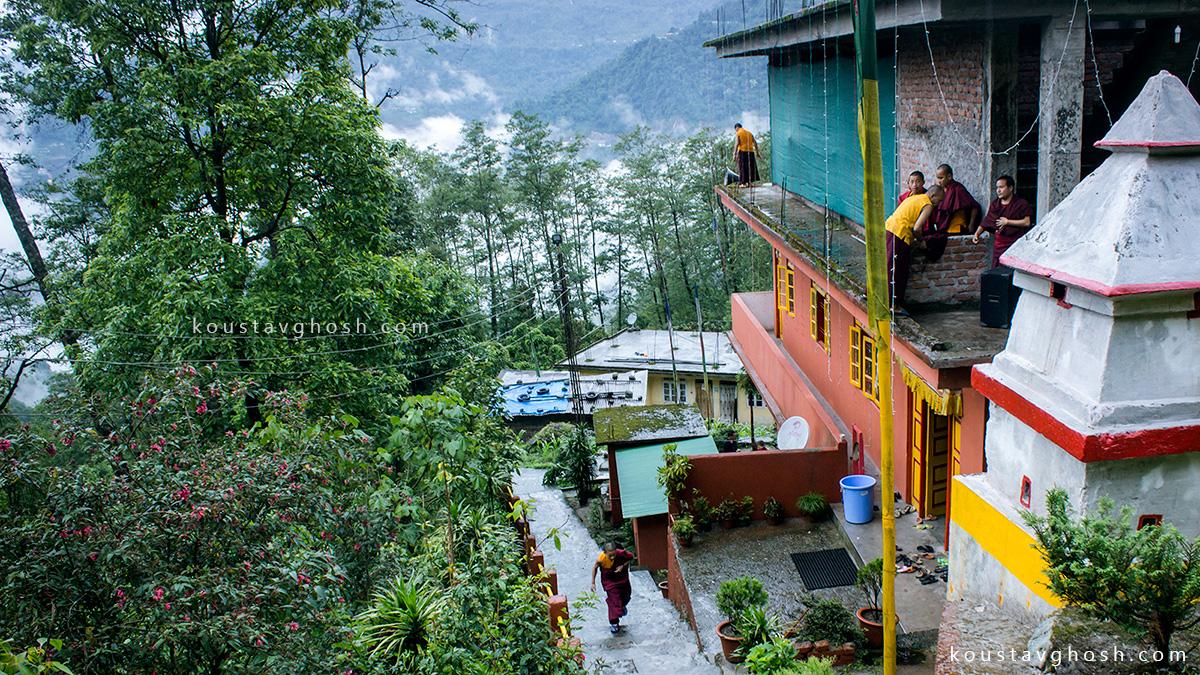 Monks were celebrating Saga Dawa at Gurung Monastery