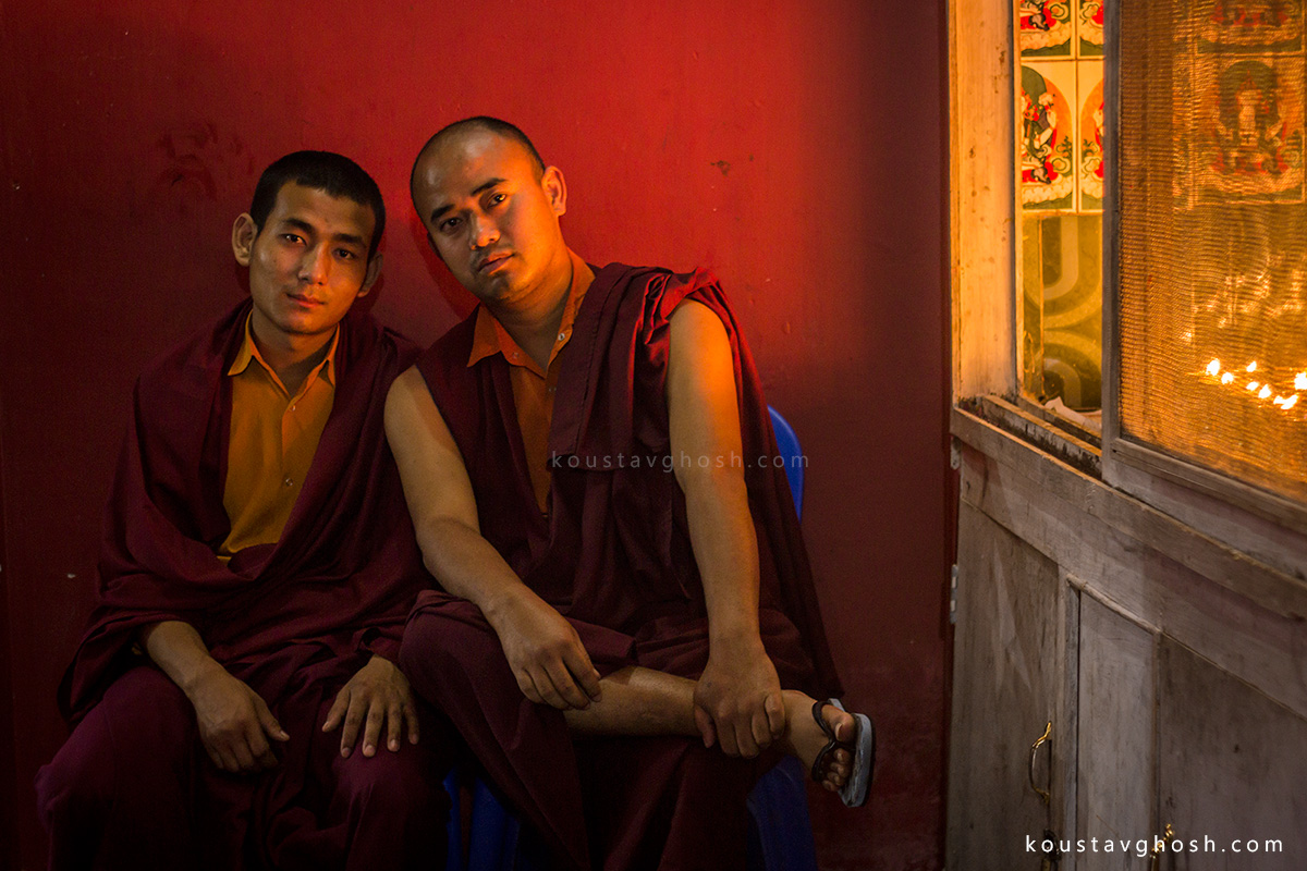 Two monks were sitting inside the monastery